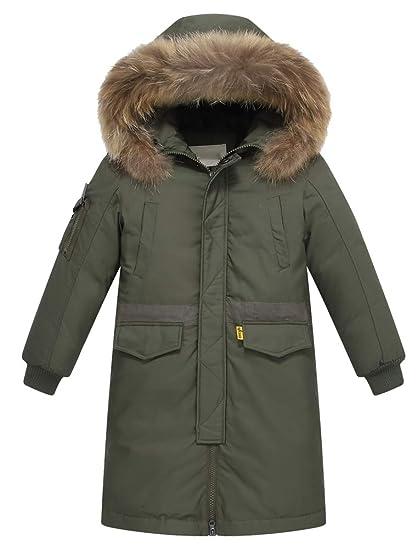 FTCayanz Kinder Daunenjacken Winterjacke mit Kapuze Lang Jacken für Jungen Mädchen Mäntel warm Wintermantel