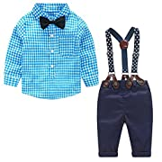 Chinatera 2Pcs Baby Boys Gentleman Outfits Plaid Bow Tie Shirt+Suspenders Pants (6-12M)