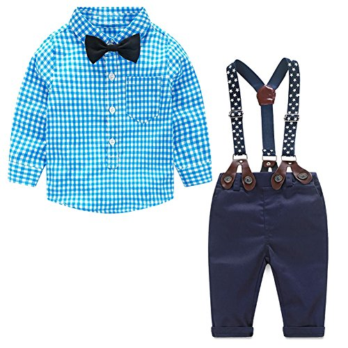 Chinatera 2Pcs Baby Boys Gentleman Outfits Plaid Bow Tie Shirt+Suspenders Pants (Infant Boy Formal Wear)