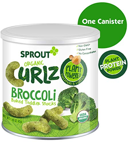 Sprout Organic Curlz Toddler Snacks, Broccoli, 1.48 Ounce Canister - Food Snacks Finger