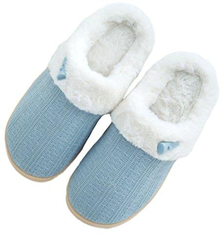 Epsion Winter Slippers Voor Dames Indoor Outdoor Kabel Gebreid Fuzzy Lichtblauw