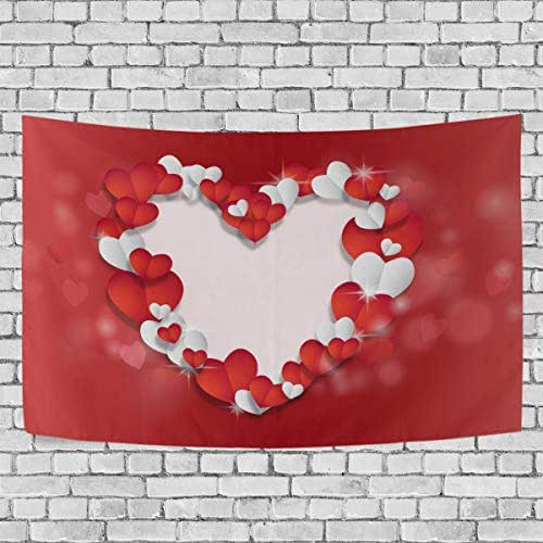 Josid Valentine's Day Red Hearts Shaped Tapestry Wall Hanging Wall Tapestry Hippie Tapestries Wall Art for Bedroom Living Room Dorm Home Decor 60x51inches