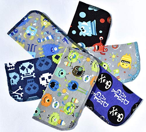 1 Ply Washable Fun Kids Monster Halloween Napkins 9x9 inches 5 Pack - Little Wipes (R) Flannel