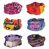 Bundle Monster 6pc Multifunctional Seamless Style Bandanna Hairband Headwear Scarf Neck Wrap Beanie Cap Lot - Set 4