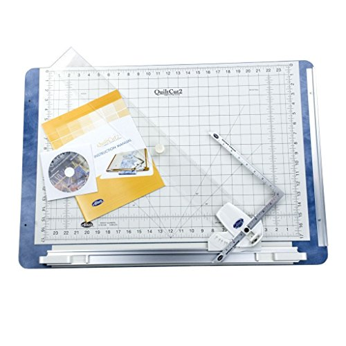 QuiltCut2 All-in-One Fabric Cutting System for Quilters - Includes Rotary Cutting Mat, Fabric Clamp, Cutting Guide, and Speed Gauge Ruler