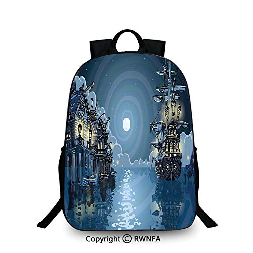3D printing Customized school bag,Fantasy Adventure Island Faery Mystery Ships Pirate Cove Bay Swirled Moon Rays Decorative Travel College School Bags Blue White Green]()