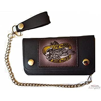 Cartera billetera monedero para piloto especial moto custom en piel PU: Amazon.es: Coche y moto
