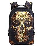 DOLIROX Cool Boys Girls School Backpack 3D Skeleton Skull Schoolbag Unisex Travel Camping Casual Daypacks Rucksack Bookbag Anime Shoulder Bag Laptop Bag for Teens (Gold)