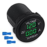 WATERWICH DC12-24V/0.1-10A Dual LED Digital Multimeter Amp Voltage Meter 2-in-1 Current Tester and Voltage Tester for Boat Marine Vehicle Truck ATV Car Camper LED Round Panel (Green)