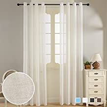 Top Finel Faux Linen Window Semi-Sheer Curtain Panels For Living Room Bedroom 54 X 84 inch Length Set of 2 panels,Grommets,White