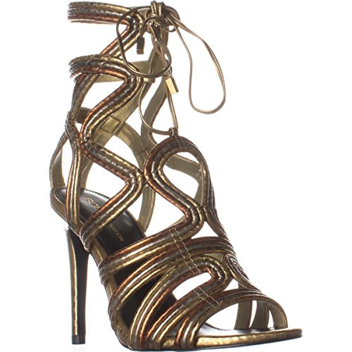 BCBGeneration Womens Jax Open Toe Special Occasion Strappy, Oro Multi, Size 5.5