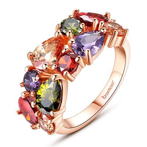 BAMOER Rose Gold Plated Austrian Crystal Promise Ring for Girls Women Size 6]()