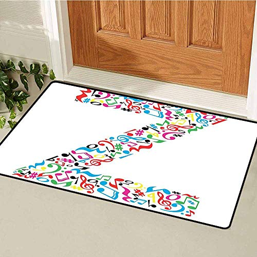 Gloria Johnson Letter Z Universal Door mat Collection of Vibrant Musical Signs and Notes in Shape of Capital Z Alphabet Font Door mat Floor Decoration W19.7 x L31.5 Inch Multicolor