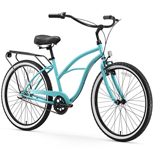 (sixthreezero Around The Block Women's 3-Speed Cruiser Bicycle, Teal Blue w/ Black Seat/Grips, 26