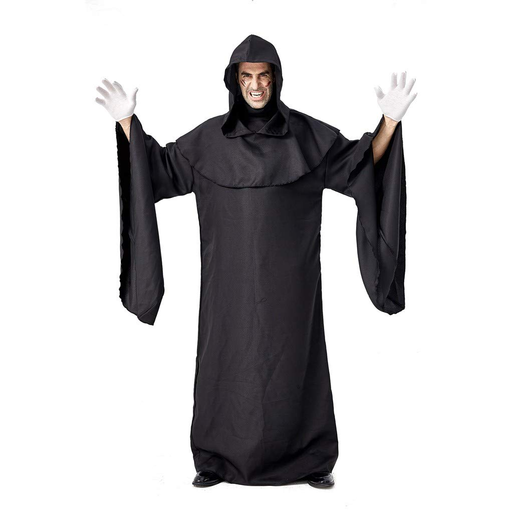 Goddesslili Mens Costumes Halloween, Vintage Solid Black Mystic Hooded Bandage Wizard Sorcerer Robe Breathable Costume Cosplay Party Wear, 2019