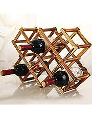 Wooden Wine Bottle Holder - Natural Wine Shelves - 8 Slots - Holds 10 Wine Bottles