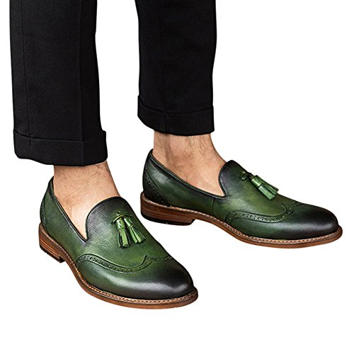 Tortor 1bacha Unisex Adulto In Pelle Con Nappina Brogue Slip-on Mocassino Verde