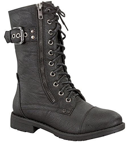Black Boots Womens (Top Moda Women's Pack-72 Lace Up Combat Boot,10 B(M) US,Black)