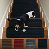 Stair Treads Non-Slip Carpet Indoor Set of 13 Black Carpet Stair Tread Treads Stair Rugs Mats Rubber Backing (30 x 8 inch),(Black, Set of 13)