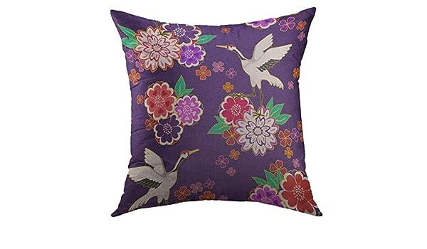 DDOBY Funda de Almohada Retro Kimono Chino Floral Floral ...