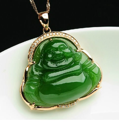Genuine Hetian Green Jade Necklace Pendant Happy Smiling Buddha Jasper Maitreya River Pebble Jade Smile Buddha Charm Chain Natural China Xinjiang Amulet Pure 18k Gold a Grade Teardrop Chinese He (Jasper Teardrop Pendant)