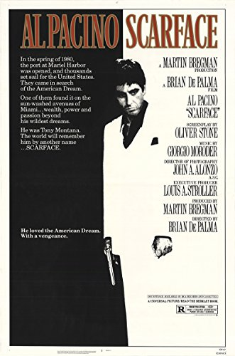 "Scarface 1983 Authentic 27"" x 41"" Original Movie Poster Rolled Near Mint, Very Fine Michelle Pfeiffer Drama U.S. One Sheet"