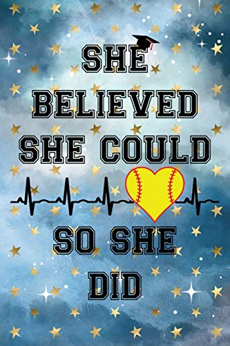 She Believed She Could So She Did: Graduation Cap Softball Heart Heartbeat Cloudy Night Dream Stars Starry Night Sky Background Pattern Notebook Journal (6x9) por Stationery Journals, PKreations