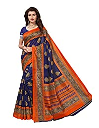Shonaya Women Party Wear Navy Blue Colour Bhagalpuri Silk Printed Saree