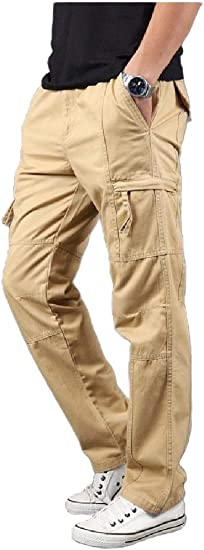 Tootess Mens Straight-Fit Long Pants Pockets Rugged Wear Loose Jersey Tank