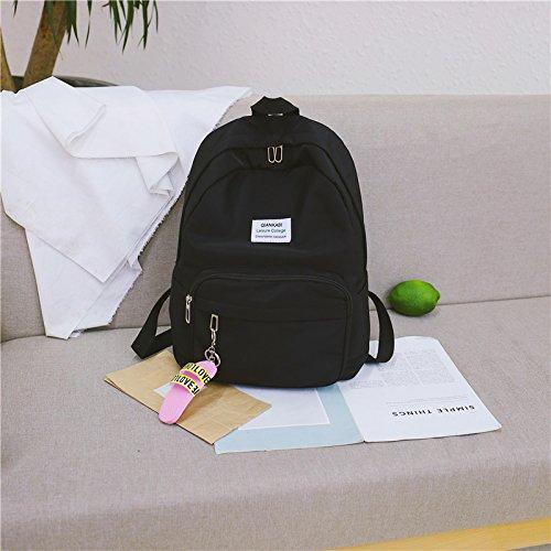 Bolso femenino del color puro de las muchachas hembra de la versión coreana estudiante de la High School secundaria mochila del campus bolso de hombro de la High School secundaria de nylon, envíe un b Send a black bag for a bag