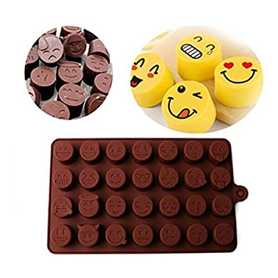 VWH Emoji Chocolate Mould Silicone Funny Mold for Jelly Candy Cake Sugar DIY, Color Send at Random
