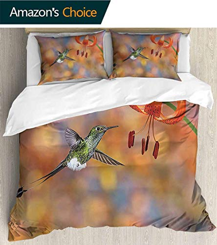 PRUNUSHOME Luxury Sheets 3-Piece Set The Booted Racket Tail Feeding Nectar from Tiger Lily Blur Background Photo Orange Comfy 3 Piece Set - King (Lily Dust Ruffle Tiger)