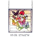 HF-136 Rural Vintage Tiffany Style Stained Church Art Glass Decorative Small Pastoral Insect Butterfly Dragonfly Ladybug Bee Square Window Hanging Glass Panel Suncatcher, 12''H12''W