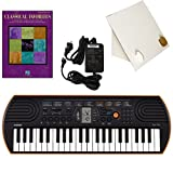 Casio SA-76 44 Key Mini Keyboard Deluxe Bundle Includes Bonus Casio AC Adapter, Desktop Music Stand & Classical Favorites Beginning Piano Solo Songbook