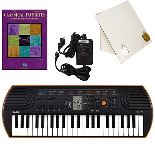 Casio SA-76 44 Key Mini Keyboard Deluxe Bundle Includes Bonus Casio AC Adapter, Desktop Music Stand & Classical Favorites Beginning Piano Solo Songbook by Casio