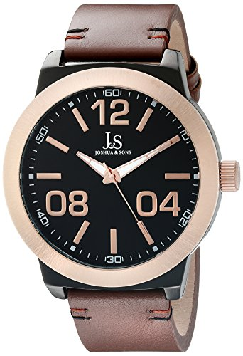 Joshua & Sons Men's JX103RGBR Stainless Steel Watch with Leather Strap