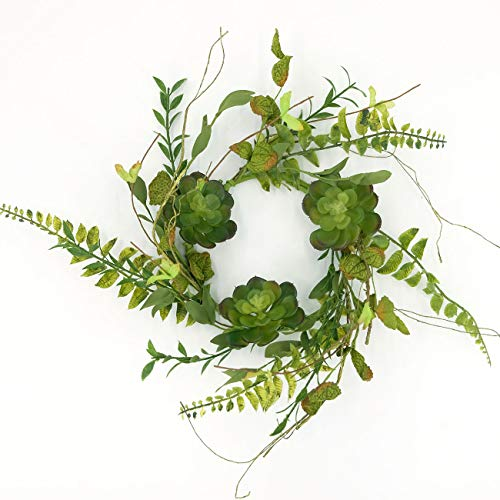 idyllic 14 Inches Artificial Wreath Green with Succulents and Leaves for The Front Door by Pure Garden, Home Décor, Housewarming Gift, Spring Farmhouse, Wedding Party Christmas Décor from idyllic