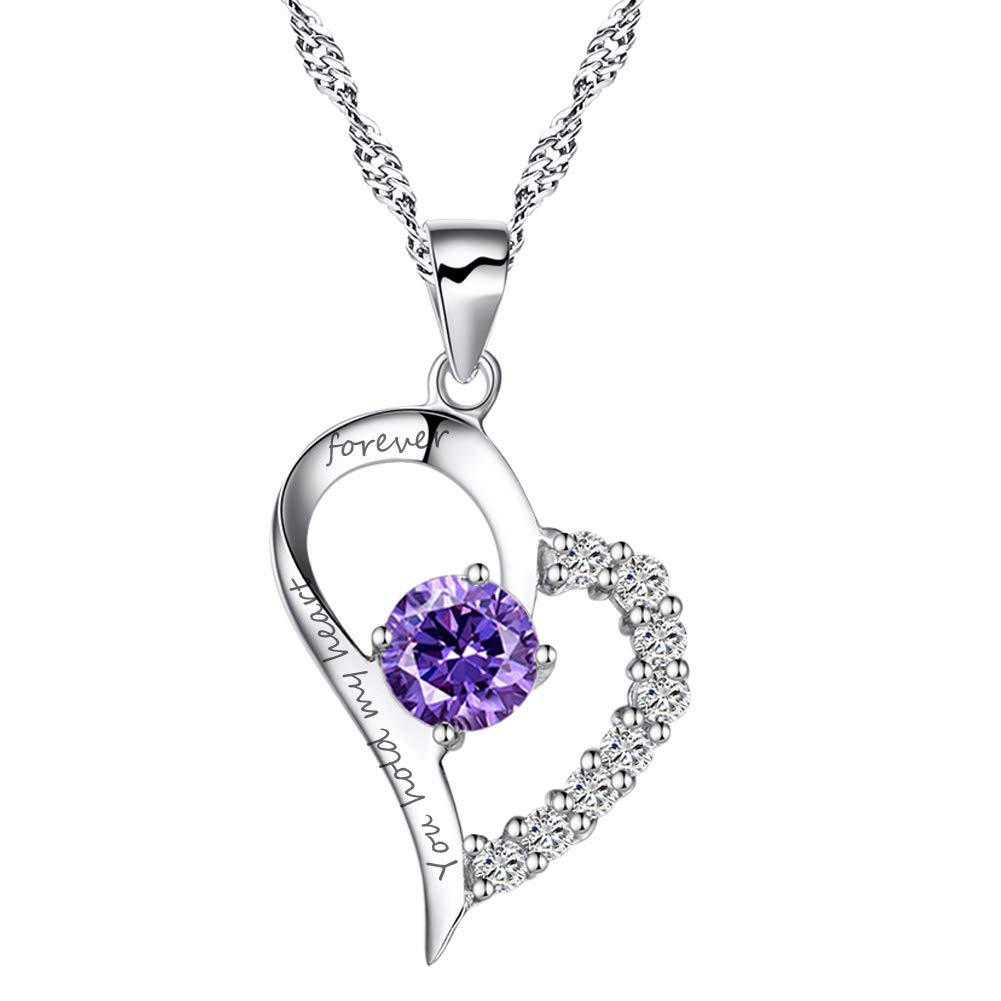 Chaomingzhen Sterling Silver Heart Pendant Enhancer Women Necklace Amethyst You Hold My Heart Forever by Chaomingzhen