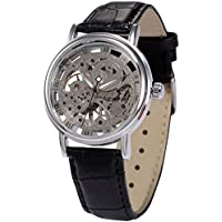 AMPM24 Men's Mechanical Wrist Watch Skeleton Hand Wind Up Leather Strap