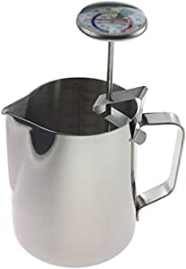 Milk Thermometer and 600 ml Milk Jug for Perfect Barista Style Coffee Making Great for Frothy Latte Cappuccino