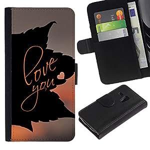 // PHONE CASE GIFT // Moda Estuche Funda de Cuero Billetera Tarjeta de crédito dinero bolsa Cubierta de proteccion Caso Samsung Galaxy S3 MINI 8190 / LOVE YOU LEAF /