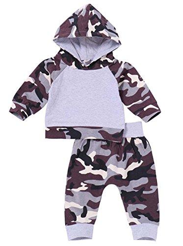 2Pcs Baby Boy Girls Camouflage T-Shirt Hoodies Top+Long Trousers Pant Leggings Kids Playsuit Outfit (Camouflage, (Camouflage Baby Tee)