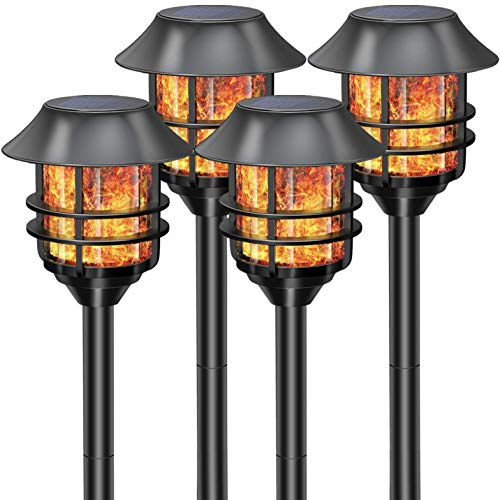 55 Tall Solar Torches Lights 4 Pack with Flicking Flame 100% Metal LED Solar Light Outdoor Dancing Stainless Steel Walkway Lighting for Garden Patio Yard Decor Waterproof Pool Path Effect Light