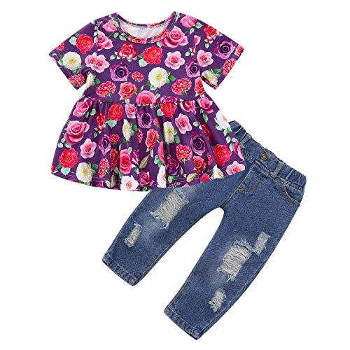 Toddler Baby Girl Clothes, 2Psc Outfits Set Floral Print Ruffle Short Sleeve Tops + Ripped Jeans Denim Pants for Girls 1-4T Purple