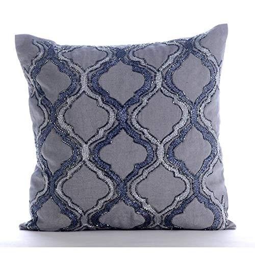 Designer Grey Decorative Pillows Cover, Lattice Trellis Throw Pillows Cover, 14