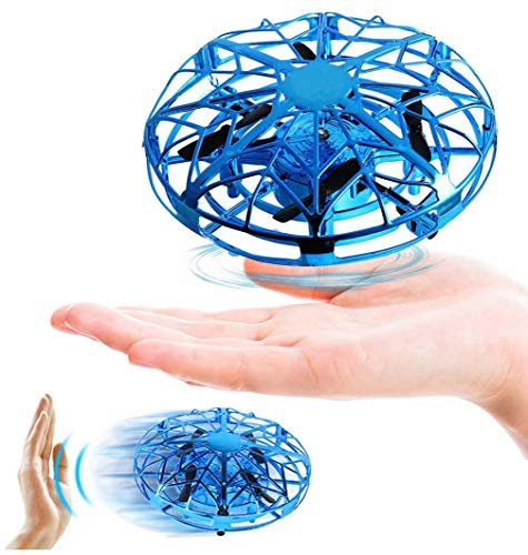 Flying Toys, Hand Operated Drones Gift for Kids, Men, Women – Hands Free Mini Drone Stress Reliever Toys with 360° Rotating and Shinning LED Lights for Boys and Girls Toys, Blue