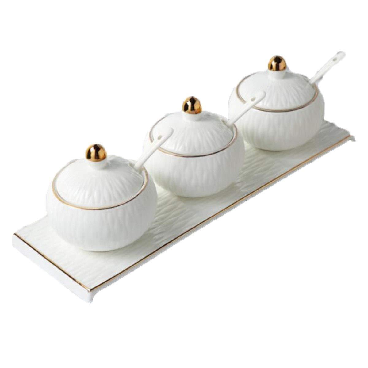 MINGRUIGONGMAO Seasoning boxes, seasoning bottles, seasoning jars, spoons and ceramic lids, kitchen supplies - non-slip base, ceramic seasoning jar three-piece, Plush toys by MINGRUIGONGMAO
