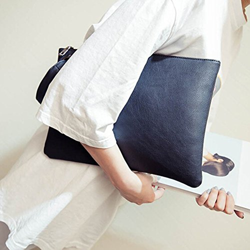 Handbag Leather Evening Zipper Large Envelope black Purse Document Clutch bag Messenger Bag Organizer Women Beige PU Shoulder q0twxEE