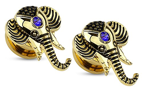 Elephant Screw Fit Flesh Tunnels 14kt Gold Plated Blue CZ, Ear Plugs Gauges - Sold As Pair (10mm - 00GA)