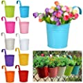 New 10pcs Metal Flower Plant Pot Basket Balcony Garden Wall Fence Hanging Planter